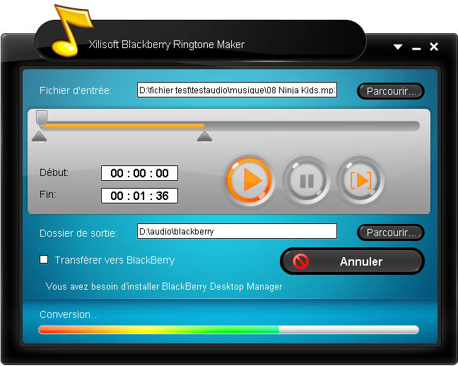 Xilisoft BlackBerry Sonnerie Créateur Screen shot